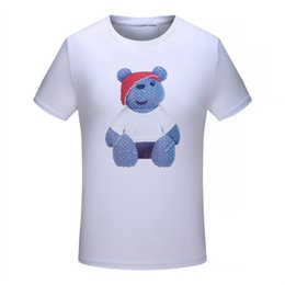 Wholesale Doll T Shirts - 2018 Hot Sale Top Copy Brand Men's T Shirts Polo Bear doll O-Neck Cotton Outdoor Wear White Black Sale With Wholesale Size M-3XL