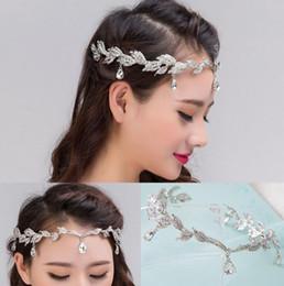 corona de diamante tiaras novia Rebajas La novia frontlet Diamond Wedding Tiara Crown Diamante colgante cejas novia joyas