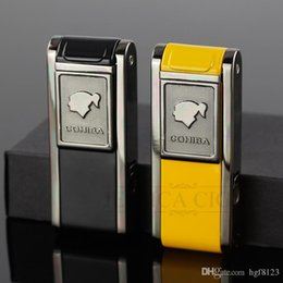 Wholesale Cigar Gadgets Gifts - COHIBA Mens Gadgets 2 Frie Flame Jet Torch Cigar Lighter Refillable Windproof Butane Gas Lighters With Cigar Punch Gift Box