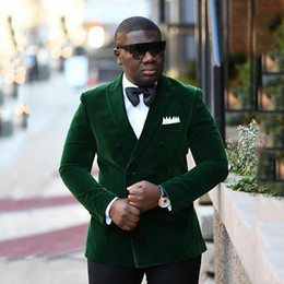 double breasted jacket green men Coupons - Smoking Jacket Green Velvet Men Suits for Wedding Double Breasted Male Blazer Slim Fit Groom Tuxedo Peaked Lapel 2Piece Jacket Pants Ternos