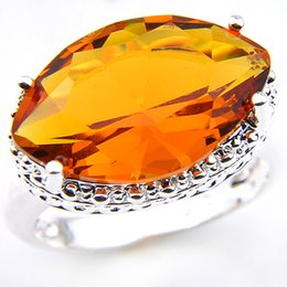 Wholesale Citrine Amethyst Jewelry - 5pcs lot Wholesale Holiday Jewelry Gift Party Jewelry Newest Eye Shape Brazil Citrine Gems 925 Sterling Silver Antique Ring USA Size 7 8 9