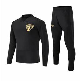 Бразильский футбол онлайн-2018 2019 бразильский клуб Сан-Паулу взрослый футбольный костюм набор комплект черный футбол куртка тренировочный костюм Survetement