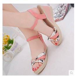 Wholesale Thick Sole Platform Sandals - 2018 summer new women's fashion casual non-slip printing platform shoes thick-soled high heel sandals sandals woman