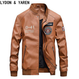 Wholesale Silver Winter Coats For Men - Wholesale- Leather coat new winter M 4XL Classic Style Motorcycle Leather Jacket For Men Thick Winter Slim Men's Leather Jacket Men Apparel