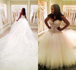 Wholesale Vintage Meters - Luxury Wedding Dresses Arabic Dubai Sweetheart Lace Beaded Crystal Ruffy Backless Tulle 3 METERS Train Plus Size Bridal Gowns Custom