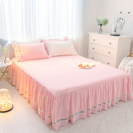 Wholesale girls crib sheets - 1 3pcs Solid Color Lace Bed Skirt Pillow cases Pink Princess Bedding Bed sheet Girls Bedspread cover Twin Queen King size