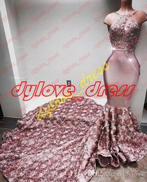 Argentina 2017 sexy elegante vestidos de noche largos sin mangas africanos sirena vestidos de fiesta de encaje rosa vestidos formales más tamaño Suministro