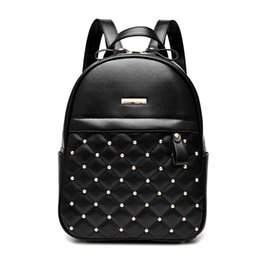 Wholesale Trade Backpack - 2018 new foreign trade women's bag rivet double shoulder bag of American fashion institute student bag T26