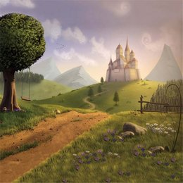 Wholesale Child Fantasy - Country Scenic Backdrops for Wedding Photography Printed Tree Green Grassland Castle Princess Girl Birthday Party Photo Background Fantasy