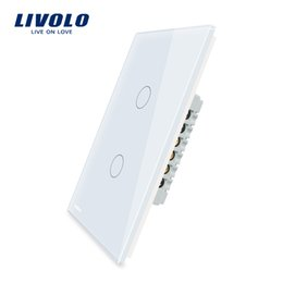 Wholesale Glass Gang - Manufacturer, LIVOLO Wall Switch, 110~250V, Ivory White black Glass Panel, 2 gang, US Touch Light Switch VL-C502-11 12