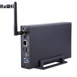 "Wholesale File Storage Case - USB3.0 Wi-Fi Streaming Wireless Hard Drive Case 3.5""External HDD Enclosure Wireless Router&File Server&AP&USB WiFi Storage RJ45"