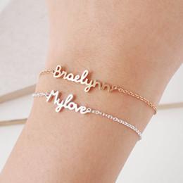 Personifizieren silberne armbänder online-Personalisierte Custom Name Armband-Charme-handgemachte Frauen Kinder Schmuck Gravierte Handschrift Unterschrift Love Message Weihnachtsgeschenk