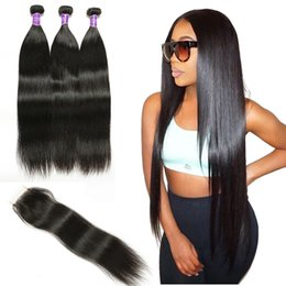 Wholesale Black Beauty Weave - 8A weaves Natural Color Unprocessed human hair brazilian hair weave 3 bundles with Lace Closure peruvian virgin Straight hair hot beauty