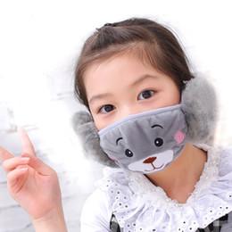 Máscara de boca de peluche de invierno para los niños Máscara de cubierta caliente de cara con orejeras Patrón de oso de dibujos animados a prueba de polvo gris y rosa desde fabricantes
