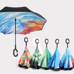 Wholesale Double Parasol Umbrella - Inverted Umbrella Double Layer sun parasol Women Rain Reverse Umbrellas male guarda chuva invertido paraguas parapluie Windproof