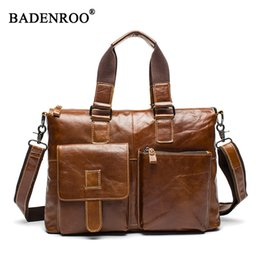 Wholesale Leather Briefcase For Laptop - Fashion Men Briefcase First Layer of Cowhide real leather Men Crossbody Shoulder bags Genuine leather Handbags for laptops