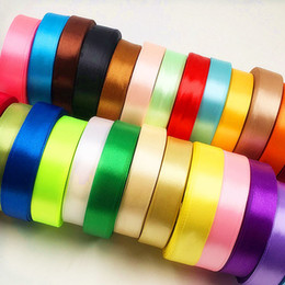 Wholesale Color Collage - 20 mm (25 yards a) artificial pure color silk ribbon wedding party Christmas decoration ribbon DIY gift box packaging collage