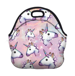 Wholesale Cool Lunch Totes - Unicorns Lunch Bags Fashion Print Insulation Neoprene Lunch Tote Picnic Waterproof Cooler Insulated Bag Mother Baby Storage Bag