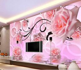 Fleurs 3d fond d'écran en Ligne-papier peint 3d fleur rose 3d stéréo tv conception murale mur fenêtre papier peint