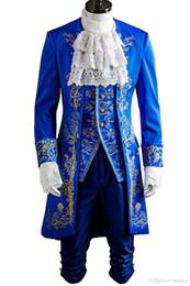 Wholesale Beast Man Costume - Malidaike Prince Dan Stevens Blue Uniform Cosplay Costume Beauty and Beast