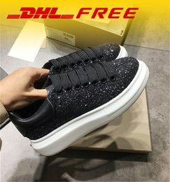 Wholesale Trendy Men Dress Shoes - DHL FREE Sequins Mens Womens Comfort Casual Dress Shoe Luxury Lace Up Glitter Personality Trainer Leisure Shoes Trendy Sport Shoes Sneaker