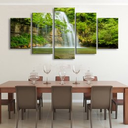 Wholesale Rock Poster Art - 5 pieces high-definition print rocks Trees waterfall canvas oil painting poster and wall art living room picture PL5-223