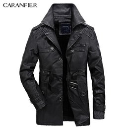 Wholesale Vintage Leather Trench - Wholesale- CARANFIER 2017 Winter Men Leather Jacket Vintage Motorcycle Windproof Casual PU Faux Jacket Male Trench Coat Youth Clothing