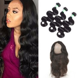 Wholesale Brazilian Lace Full Head Closure - Brazilian Peruvian Malaysian Indian Human Hair 3 Bundles Body Wave With 1pc 360 lace frontal closure For a Full Head Hair Extension