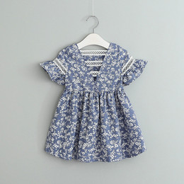 Wholesale Child Prints - Baby girls Floral Printed dress 2018 new Children Lace hollow princess dress Kids Clothing C3729
