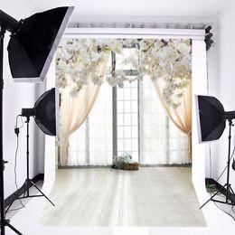 flores de vinil fotografia de fundo Desconto 5x7ft vinil fundo fotográfico branco grass flores janela prancha para o casamento cenário estúdio fotografia adereços