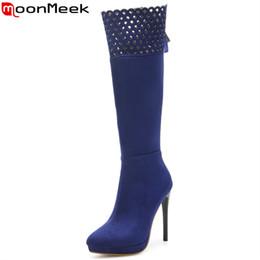 MoonMeek плюс размер 34-45 мода колено высокие сапоги острым носом zip flock осень зима сапоги тонкие высокие каблуки женская обувь 2018 новый от