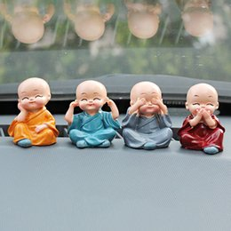 car gift decoration Coupons - Car Ornaments 4Pcs Set 4 Don't Resin Monks Maitreya Buddha Kung Fu Figure Doll Gift Auto Dashboard Decoration Pendants Charms