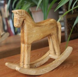 Wholesale Horse House - Hot Selling Wooden Animal Articles Villain Decoration Wood Small Rocking Horse House Furniture Decoration