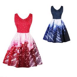 cielo swing Sconti Summer Sleeveless Star Sky stampa A-Line Dress Womens Retro Hepburn Style scollo a V Swing Evening Party Dress Slim Sundress S-4XL