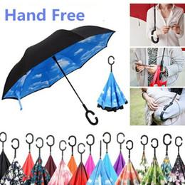 2019 fach stehen Blumenmuster Regenschirme Inverted Umbrella Sunny Rainy Taschenschirme C Griff Double Layer Self Stand Inside Out Reverse Windproof günstig fach stehen