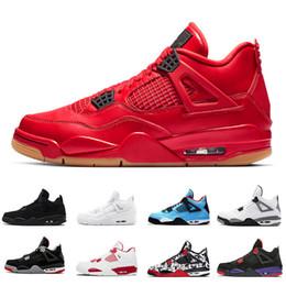 ecc216f0a55 Nike Air Jordan Retro 4 Jordans 4s 2018 Mais Novo Gum Preto 4 IV 4 s Tênis  De Basquete Homens Black Cat raça Fogo Vermelho Cacto Branco Jack Travis  Raptors ...