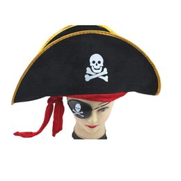 wholesale pirate skull caps Promo Codes - Halloween Accessories Skull Hat Caribbean Pirate Hat Skull Pirate Piracy Corsair Cap Party Supplies
