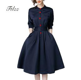 New Spring Autumn Vintage Dresses Women Slim 3 4 Sleeve A Line Office Wear Dress Elegant Laides Work Business Dresses de