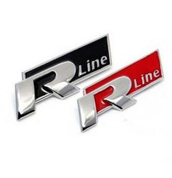 badge voiture gti 3d Promotion Automatique En Métal 3D Rline Autocollant Emblème R Ligne Badge Pour Volkswagen VW GOLF GTI Coléoptère Polo CC Touareg Tiguan Passat Scirocco