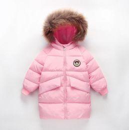 cappotti invernali del grande ragazzo Sconti Ragazzi ragazze con cappuccio piumino grandi bambini giù cappotto inverno caldi stili lunghi tuta sportiva solido bambini designer moda abiti larghi 3-8 t yl656