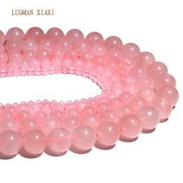 colar redondo redondo de quartzo Desconto Atacado Natural Rose Cristal Rosa de Quartzo Pedra Rodada Beads Para Fazer Jóias DIY Pulseira Colar 4/6/8/10/12 mm Strand 15 ''