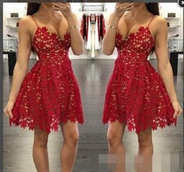Wholesale Homecoming Charms - Charming Red 2018 Homecoming Dresses Appliques Sexy A-Line Sleeveless V-Neck Short Skirt Bargain Popular Girls Party Dresses Evening Gowns