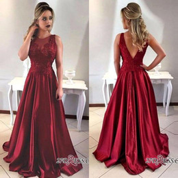 Wholesale Art Deco Shapes - 2018 Dark Red Sleeveless O-neck Satin Long Formal Evening Dresses V Shape Backless Custom Made Prom Gowns For Graduation Dress BA7957