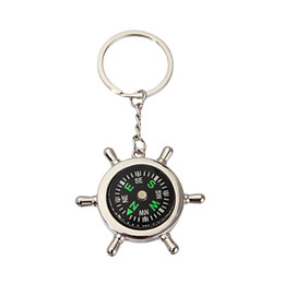 Wholesale Alloy Function - Compass Keychain Multi Function Men Outdoor Camping Gadgets Keyring Creative Nautical Rudder Zinc Alloy Key Buckle Practical 2tt YY