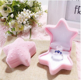 flocado caja de joyas Rebajas Anillo de joyería de la caja de Flock Fatpig color rosa estrellas de mar de terciopelo GA42 Caja de almacenamiento de regalo pendiente del collar pulsera