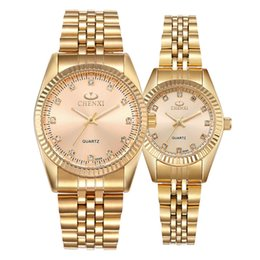 Wholesale love watch wristwatches - loves gold watch business classic wristwatch male and female new style quartz watch full gold IGP