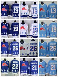 Jersey barato de los nordiques online-Cordon Nordiques # 19 Joe Sakic 21 Forsberg 26 Stastny 13 Sundin 22 Marois Blanco Azul barato Camisetas CCM Vintage Hockey