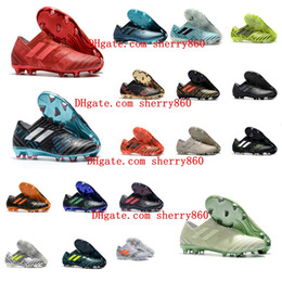 Wholesale Messi Shoes Red - 2018 mens soccer cleats Nemeziz 17 360 Agility FG soccer shoes nemeziz tango Crampons de football boots messi top quality cheap .