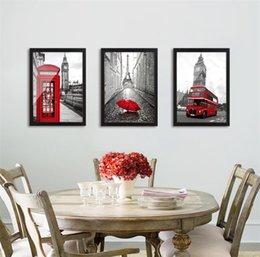 Wholesale London Wall Art - Modern Classic Scenery Black And White Red London Bus Canvas Art Print Painting Posters Wall Picture For Living Room Home Decor