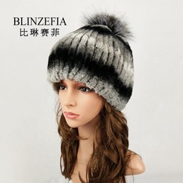 018b20c9d70 2019 BLINZEFIA Knitted Genuine Real Rex Rabbit Fur Winter Hats for Women  Lady Warm Russian Fox Fur Pom Pom Beanies Cap BZ6018 ladies russian fur hats  for ...